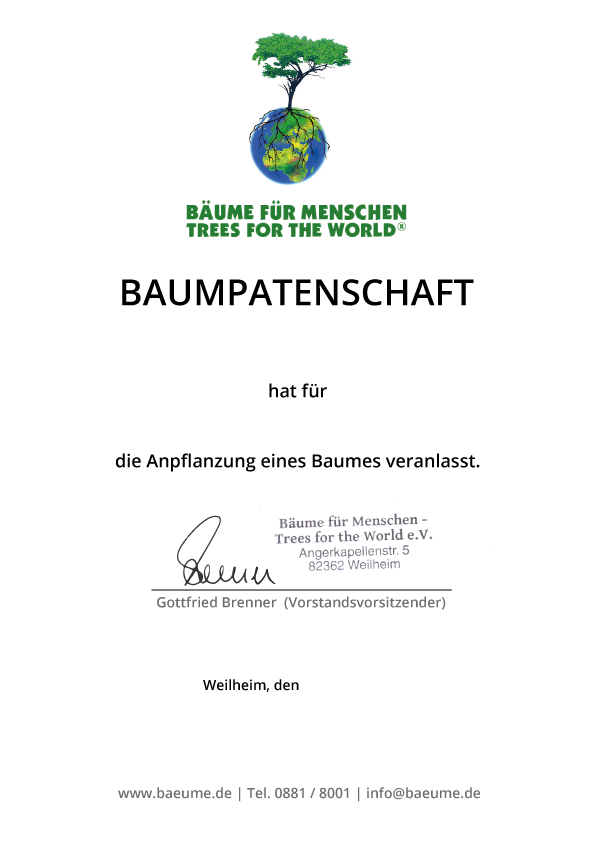 Baumpatenschaftszertifikat