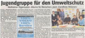 Jugendgruppe für den Umweltschutz Weilheimer Organisation plant