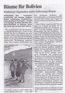 äume für Bolivien Weilheimer Organisation startet Aufforstungs-Projekt