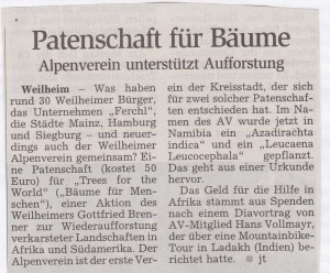 Patenschaft für Bäume Alpenverein unterstützt Aufforstung